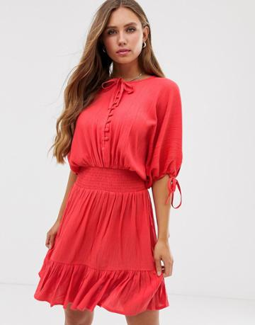 Asos Design Short Sleeve Mini Dress With Elasticated Waist In Crinkle - Red