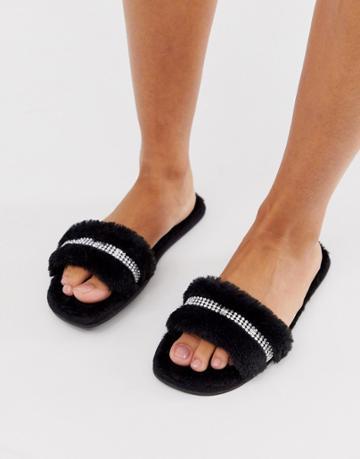 Asos Design Zadie Embellished Fluffy Slider Slippers In Black