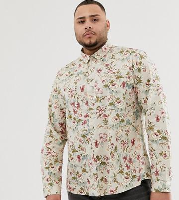 Asos Design Plus Slim Fit Floral Shirt In Ecru - White