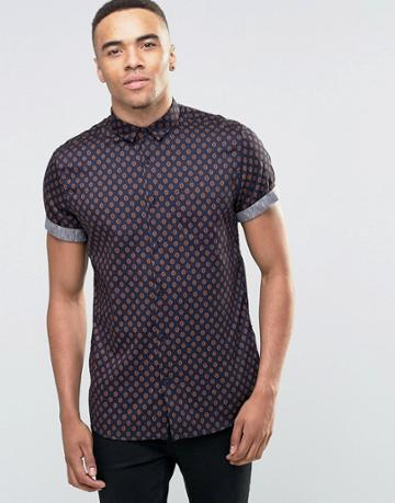 New Look Shirt In Navy With Small Print In Regular Fit - Navy