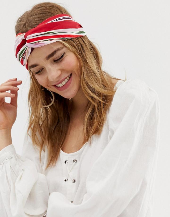 South Beach Striped Print Elasticated Headband-multi