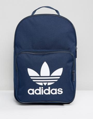 Adidas Originals Trefoil Backpack In Collegiate Navy With Front Pocket