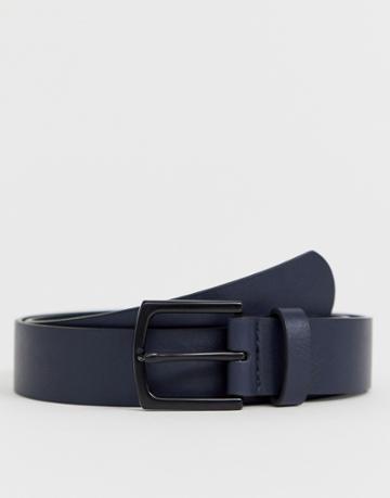 Asos Design Wedding Faux Leather Slim Belt In Navy With Matte Black Buckle - Navy
