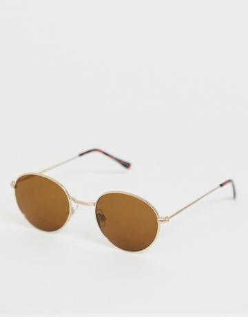 Bershka Oval Sunglasses With Gold Frames - Gold