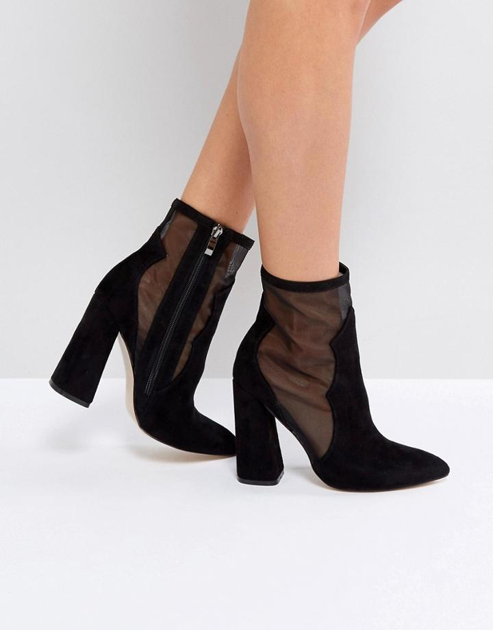 Public Desire Mesh Heeled Ankle Boots - Black
