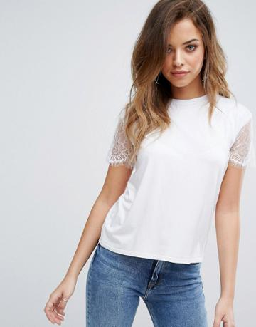 Prettylittlething Lace Sleeve T-shirt - White