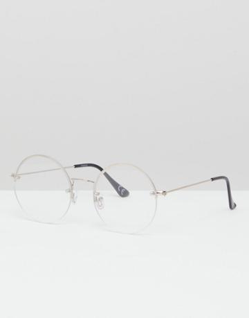 Asos Design Round Glasses In Silver With Laid On Clear Lens - Silver