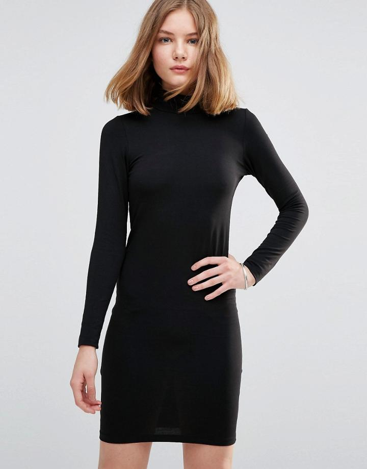 Jdy High Neck Sweater Dress - Black