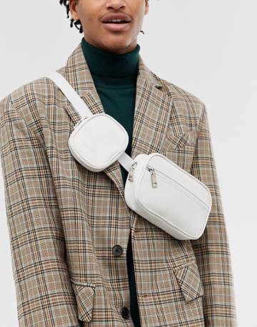 Asos Design Faux Leather Cross Body Flight Bag In White With Multi Pockets - White