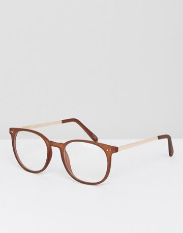 Asos Round Glasses In Matt Brown With Clear Lens - Brown