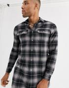Asos Design Oversized Longline Check Shirt In Gray