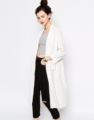 Monki Duster Coat - White