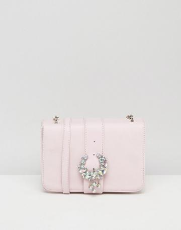 Asos Embellished Encrusted Cross Body Bag With Buckle - Pink