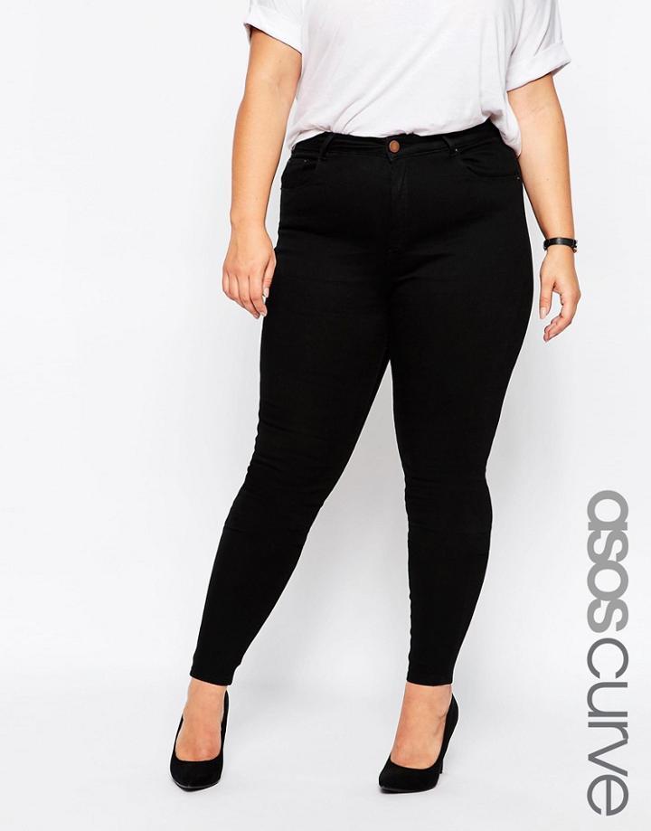 Asos Curve Ridley Skinny Jean In Clean Black - Black