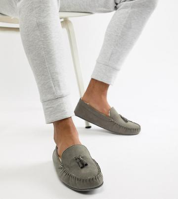 Asos Design Slippers In Gray With Faux Shearling Lining - Gray