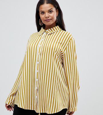 Prettylittlething Plus Shirt In Mustard Stripe - Yellow