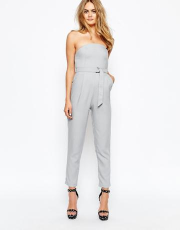 Lola May Tailored Jumpsuit With D Ring Belt - Gray