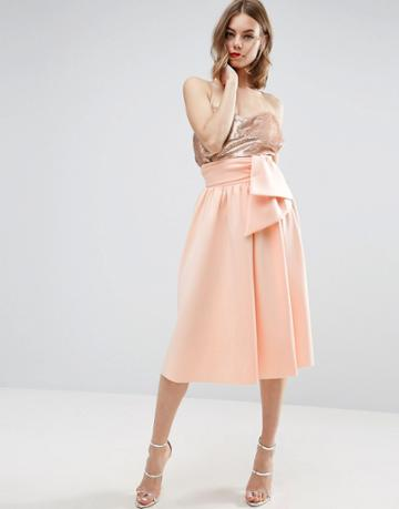 Asos Scuba Prom Skirt With Bow Detail - Beige
