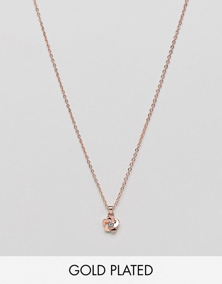 Ted Baker Rose Gold Flower Pendant Necklace - Gold