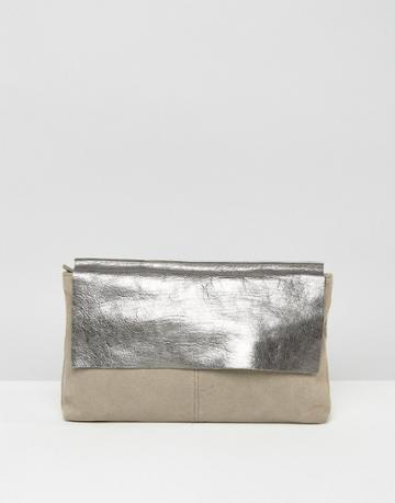 Asos Leather And Metallic Pinched Top Clutch Bag - Gray