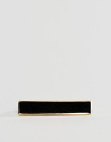 Asos Enamel Tie Bar In Black And Gold - Gold