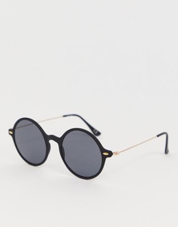 Asos Design Round Sunglasses With Gold Detail And Black Lenses - Black