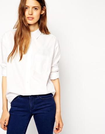 Asos Slim Boyfriend White Shirt With Pleat Detail Back - White