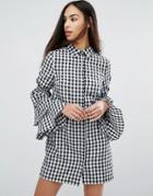 Missguided Gingham Tiered Sleeve Shirt Dress - Multi