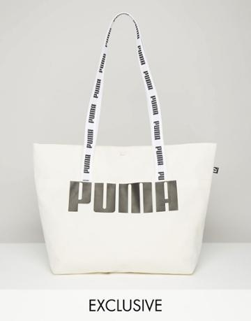 Puma Exclusive To Asos Shopper Bag With Tapered Handles - Cream