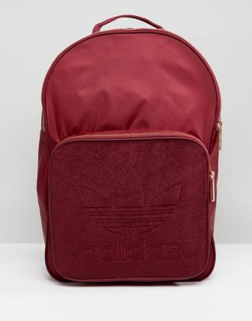 Adidas Originals Classic Backpack In Burgundy With Rose Gold Hardware - Red