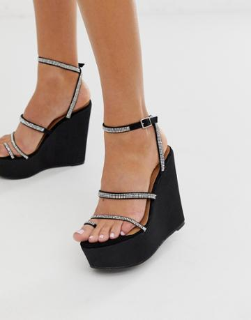 Asos Design Tantalize Toe Loop Embellished Wedges In Black - Black