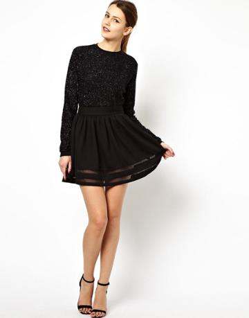 Asos Mini Skirt In Ponte With Sheer Panel
