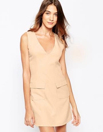 Lola May Utility Shift Dress With Pockets - Navy