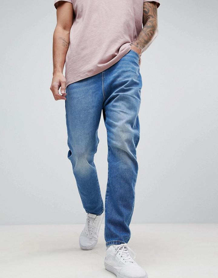Asos Drop Crotch Jeans In Dusky Blue - Blue