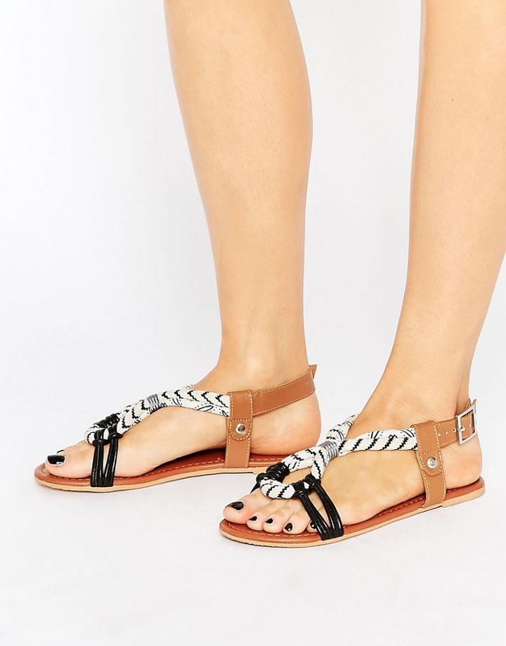 Asos Fuse Leather Flat Sandals - Black