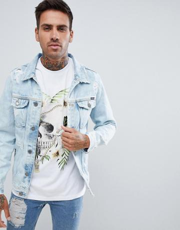 Pull & Bear Denim Jacket With Abrasion In Light Blue - Blue