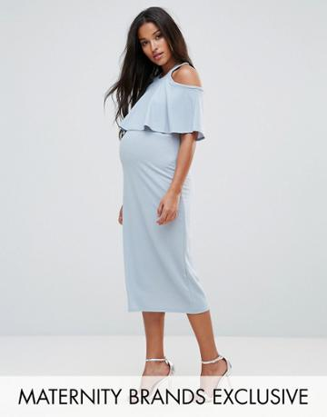 Bluebelle Maternity Double Layered Fitted Midi Dress - Blue