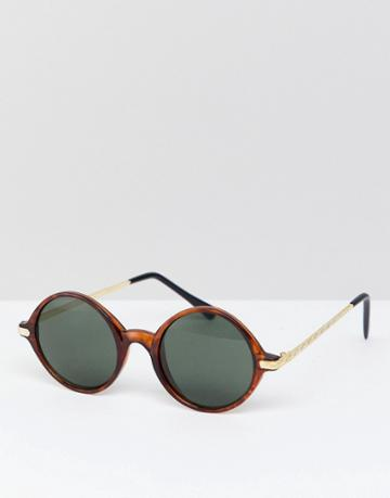 Reclaimed Vintage Inspired Round Sunglasses In Tort Exclusive To Asos - Brown