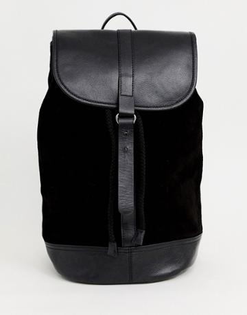 Asos Design Backpack In Black Leather And Suede - Black