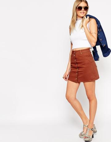 Asos Denim Dolly Button Through Skirt In Rust - Rust