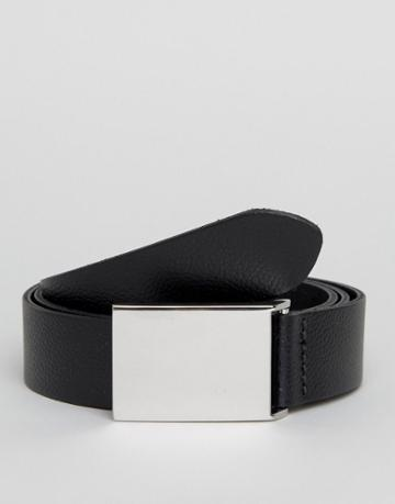 Asos Smart Slim Leather Belt With Brushed Silver Plate - Black