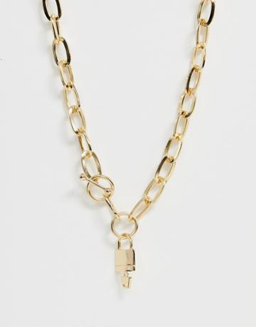 Asos Design Necklace In Hardware Chain With Padlock And Toggle In Gold Tone - Gold