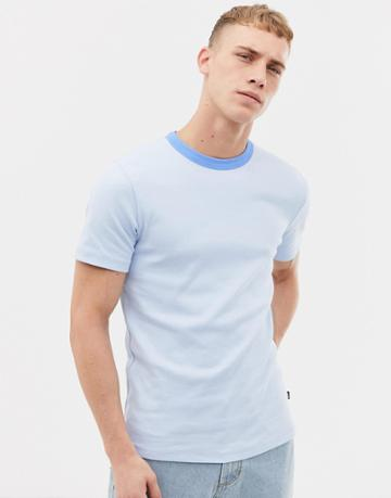 Tiger Of Sweden Jeans Slim Fit Crew Neck T-shirt With Tonal Neck In Blue - Blue