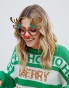 Fizz Christmas Reindeer Novelty Glasses - Multi