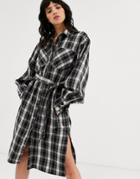 Object Check Shirt Midi Dress With Volume Sleeve
