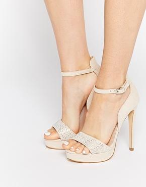 Lipsy Cheryl Embellished Gold Heeled Sandals - Gold