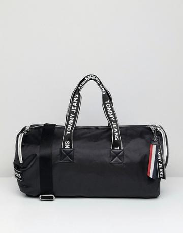 Tommy Jeans Barrell Bag With Logo Tape Straps - Black