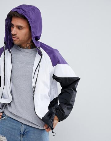 Pull & Bear Windbreaker With Hood In Purple Color Block - Purple