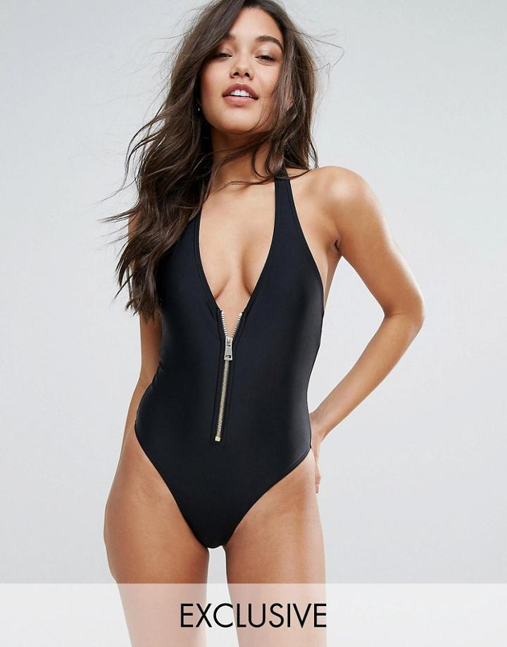 South Beach Plunge Zip Black Swimsuit - Red