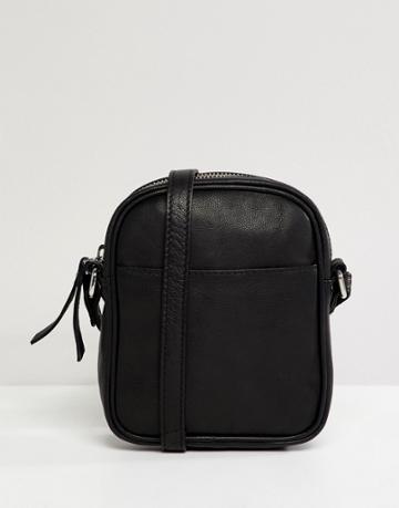 Asos Design Leather Mini Messenger Cross Body - Black